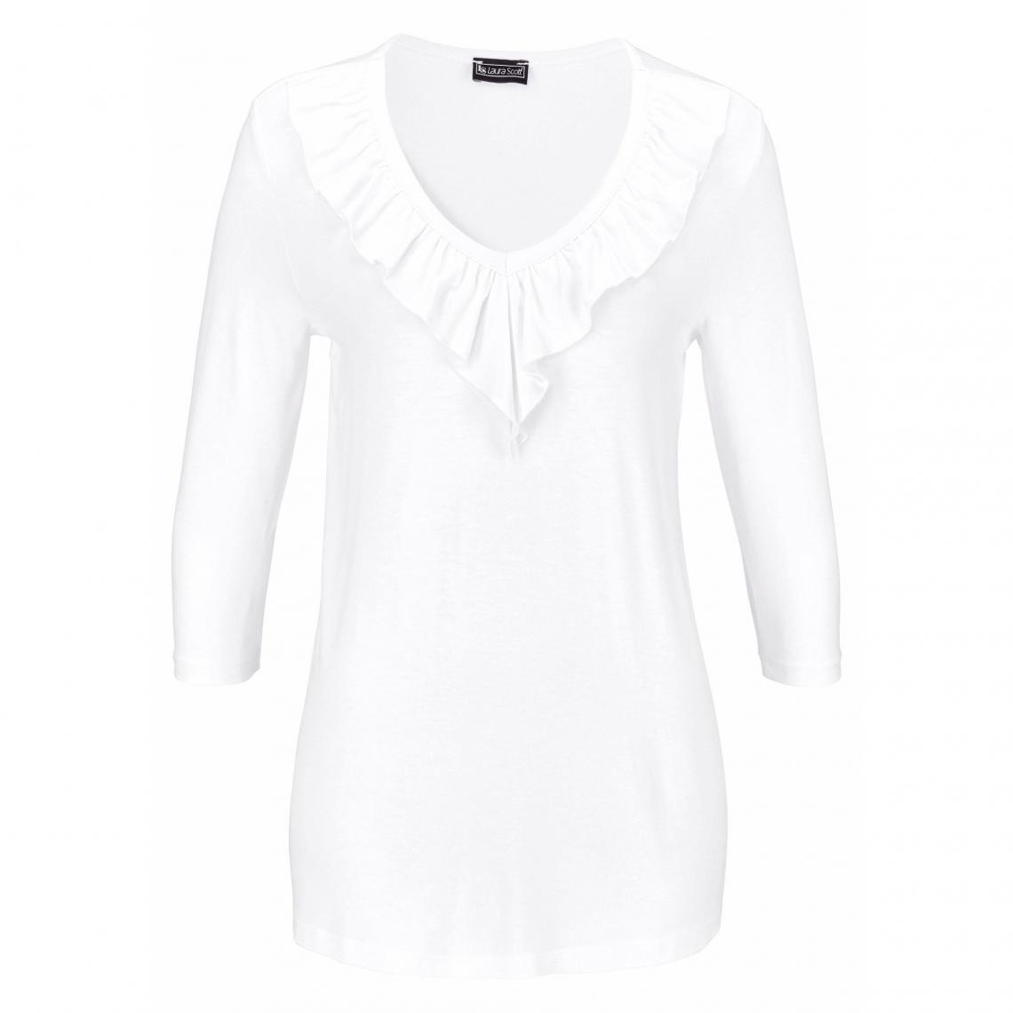 T-shirt col V avec volant manches 3\/4 femme Laura Scott - Blanc b6sJq