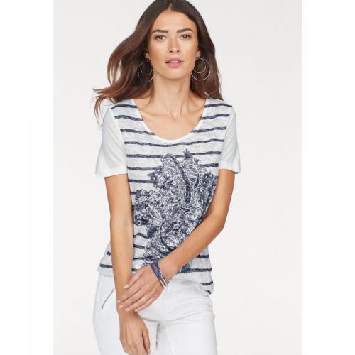 a5e9395be T-shirt rayé avec strass manches courtes femme Laura Scott - Blanc