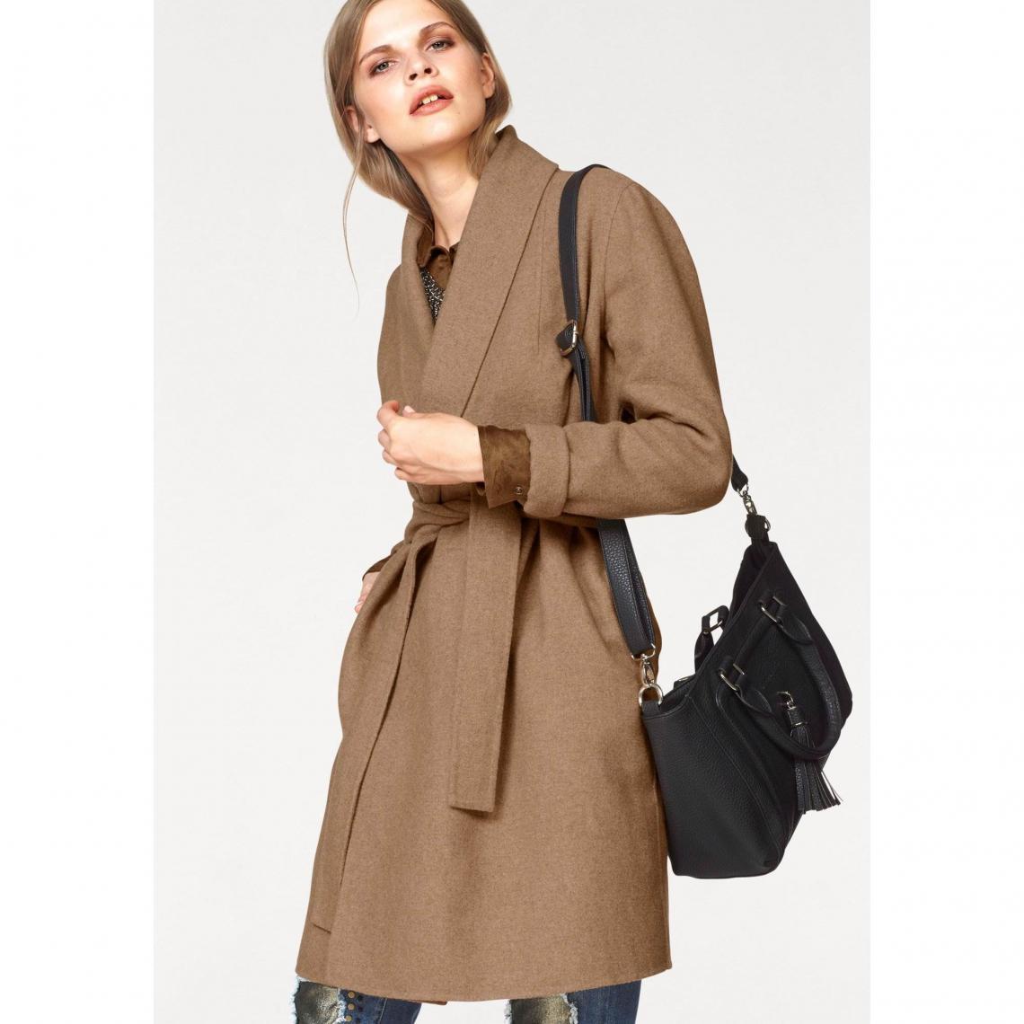 Manteau col châle femme Laura Scott Beige | 3 SUISSES