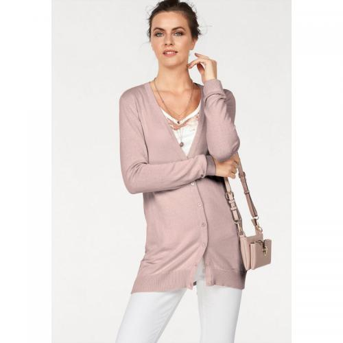Laura Scott - Gilet long col V femme Laura Scott - Rose - Promos vêtements femme Rose