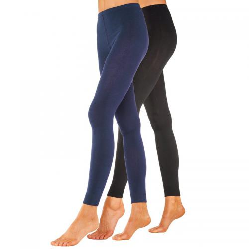Lavana Basic - Lot de 2 leggings femme Lavana - Bleu - Bas et collants