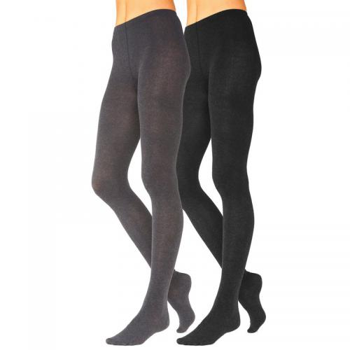 Lavana Basic - Lot de 2 paires de collants femme Lavana - Noir - Chaussant