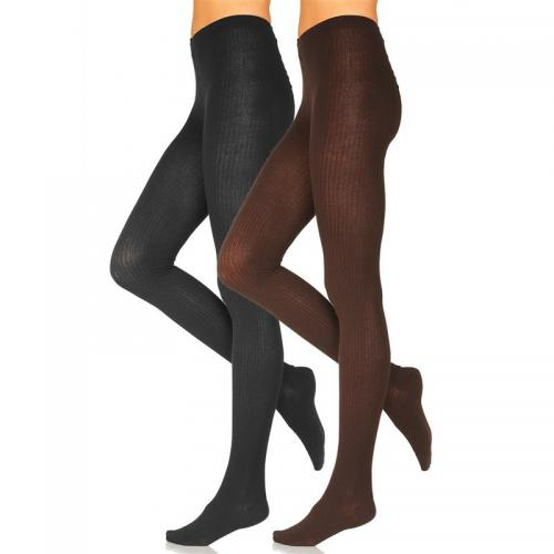 Lot de 2 collants à côtes femme Lavana - Marron