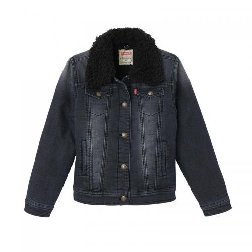 levis kids - Veste en jean col sherpa fille Levi's® Kids - Black Denim - Mode Enfant