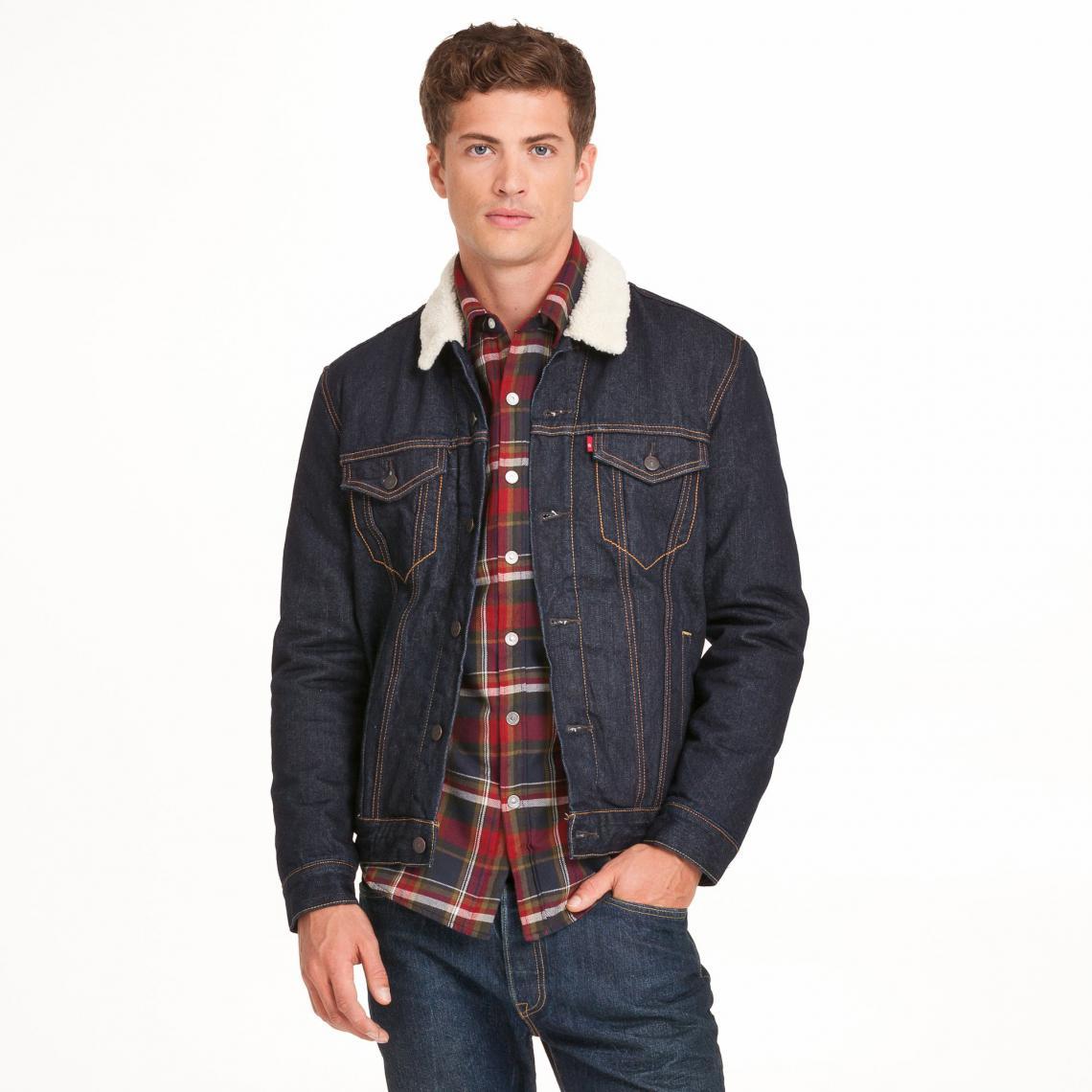 veste jean fourr e avec col imitation mouton homme levi 39 s. Black Bedroom Furniture Sets. Home Design Ideas