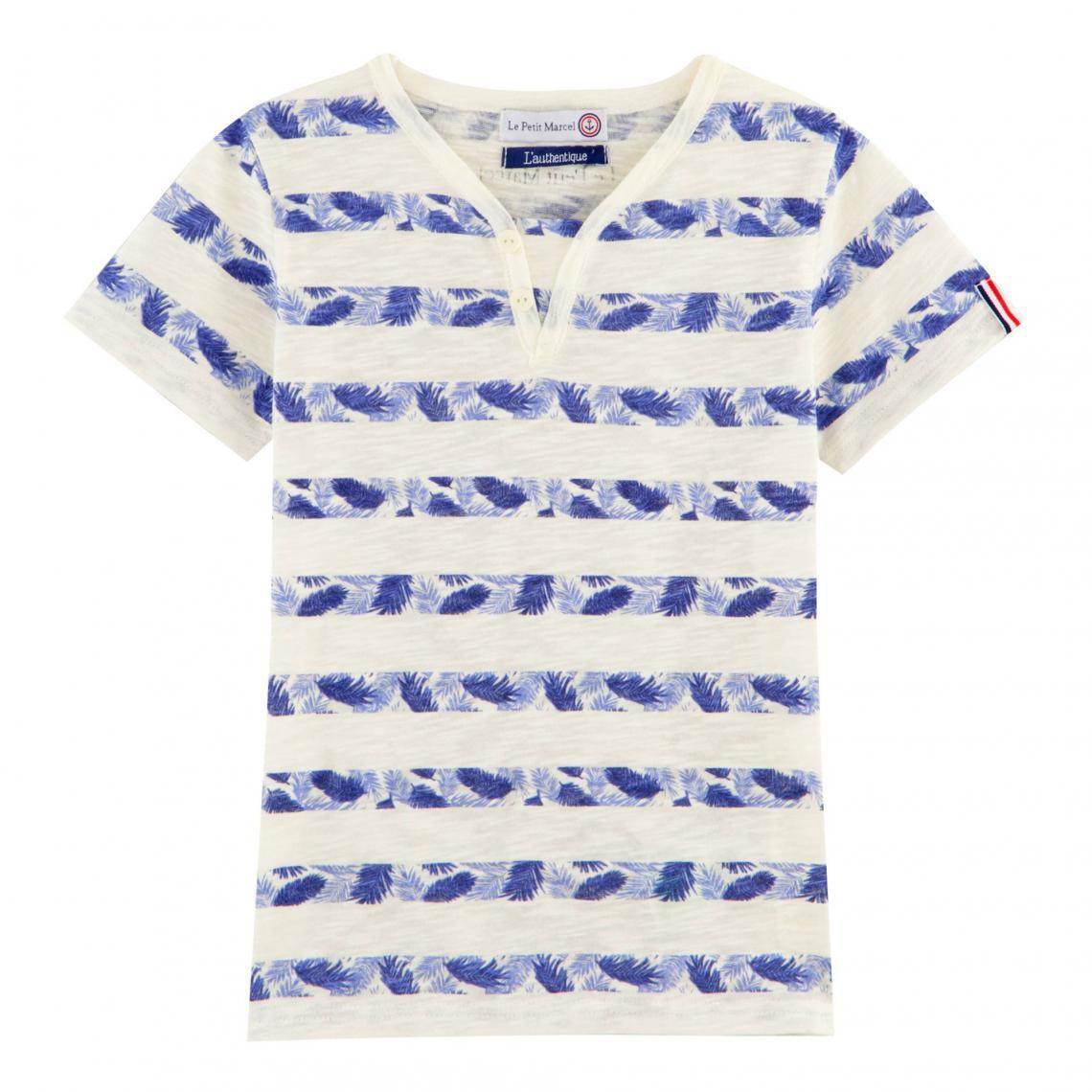 T-shirt col tunisien manches courtes rayé fille Le Petit Marcel - Bleu