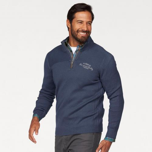 Man's World - Pull col camionneur manches longues homme Man's World - Bleu - Pull / Gilet / Sweatshirt