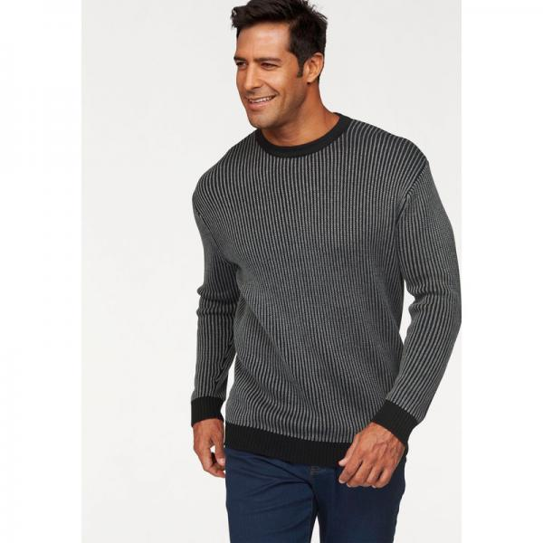 Pull col rond manches longues maille bicolore homme Man's World - Noir Man's World Homme