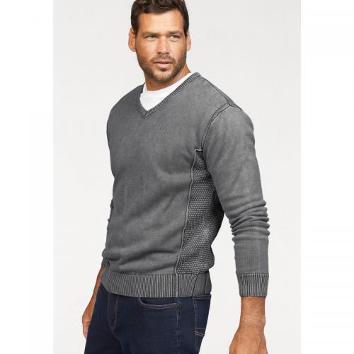 Man's World - Pull coton col V homme Man's World - Gris - Promos vêtements homme