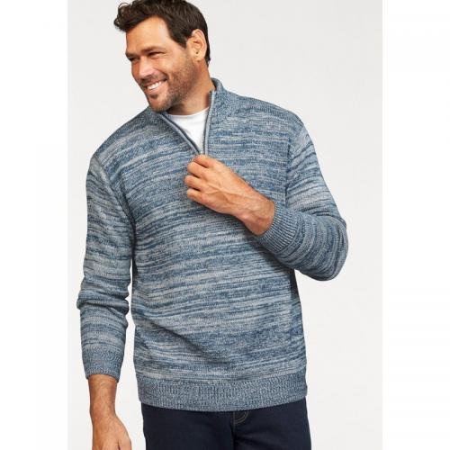 Man's World - Pull camionneur chiné col zippé homme Man's World - Bleu - Pulls homme