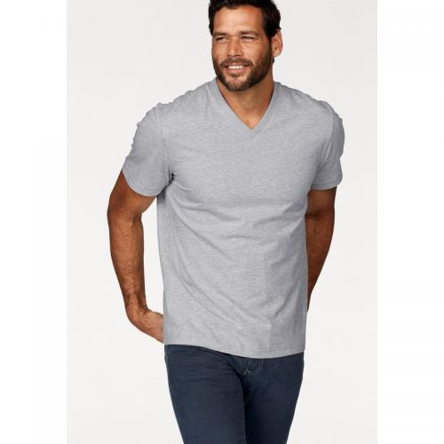 Man's World - Lot de 2 t-shirts unis col V manches courtes homme Man's World - Noir - Gris Chiné - Vêtements homme