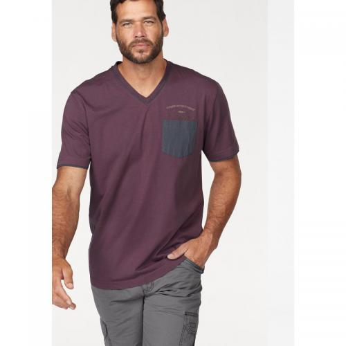 Man's World - T-shirt manches courtes col V Man's World - Aubergine - Promos vêtements homme