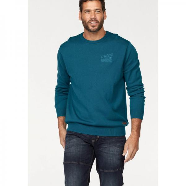 Pull col rond manches longues Man's World - Bleu Pétrole Man's World Homme