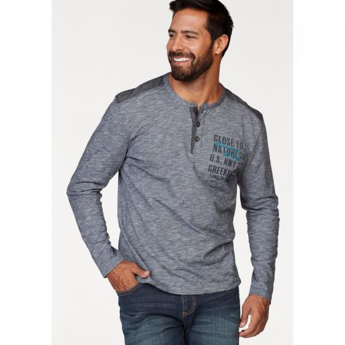 Man's World - T-shirt manches longues col tunisien homme Man's World - Gris - T-shirt / Polo Imprimé