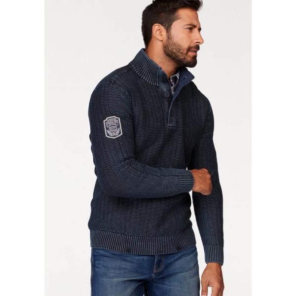 Pull col montant boutonné manches longues homme Man's World - Bleu Man's World Homme