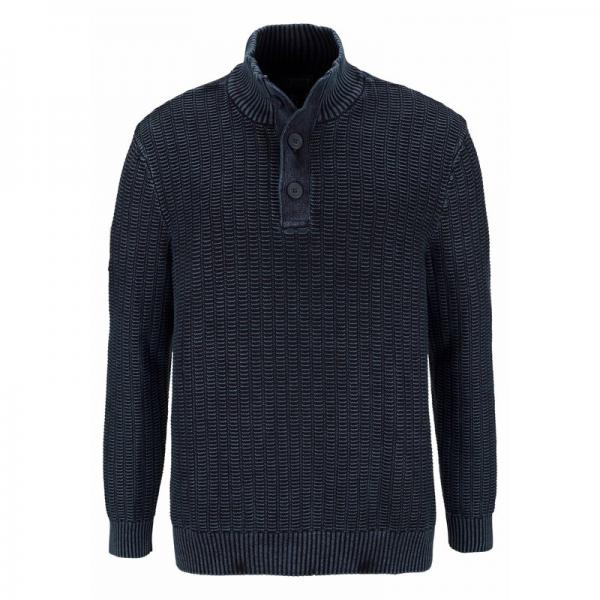 Pull col montant boutonné manches longues homme Man's World - Bleu Man's World