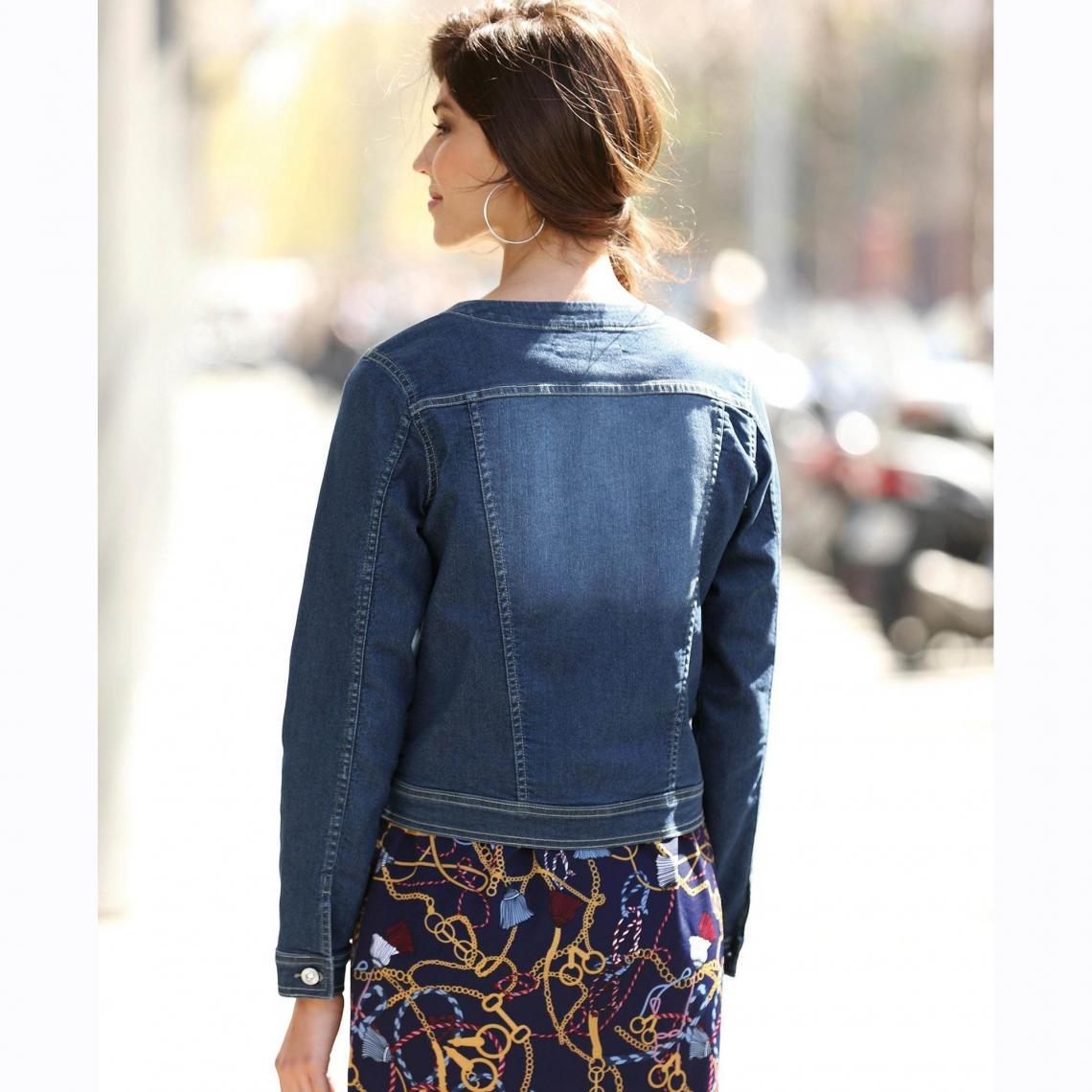 Veste en jean manches longues pierres femme Denim Foncé