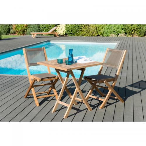 MACABANE - Ensemble table carrée pliante 70 cm + 2 chaises pliantes en teck massif et textile - Teck - Ensemble table, chaise