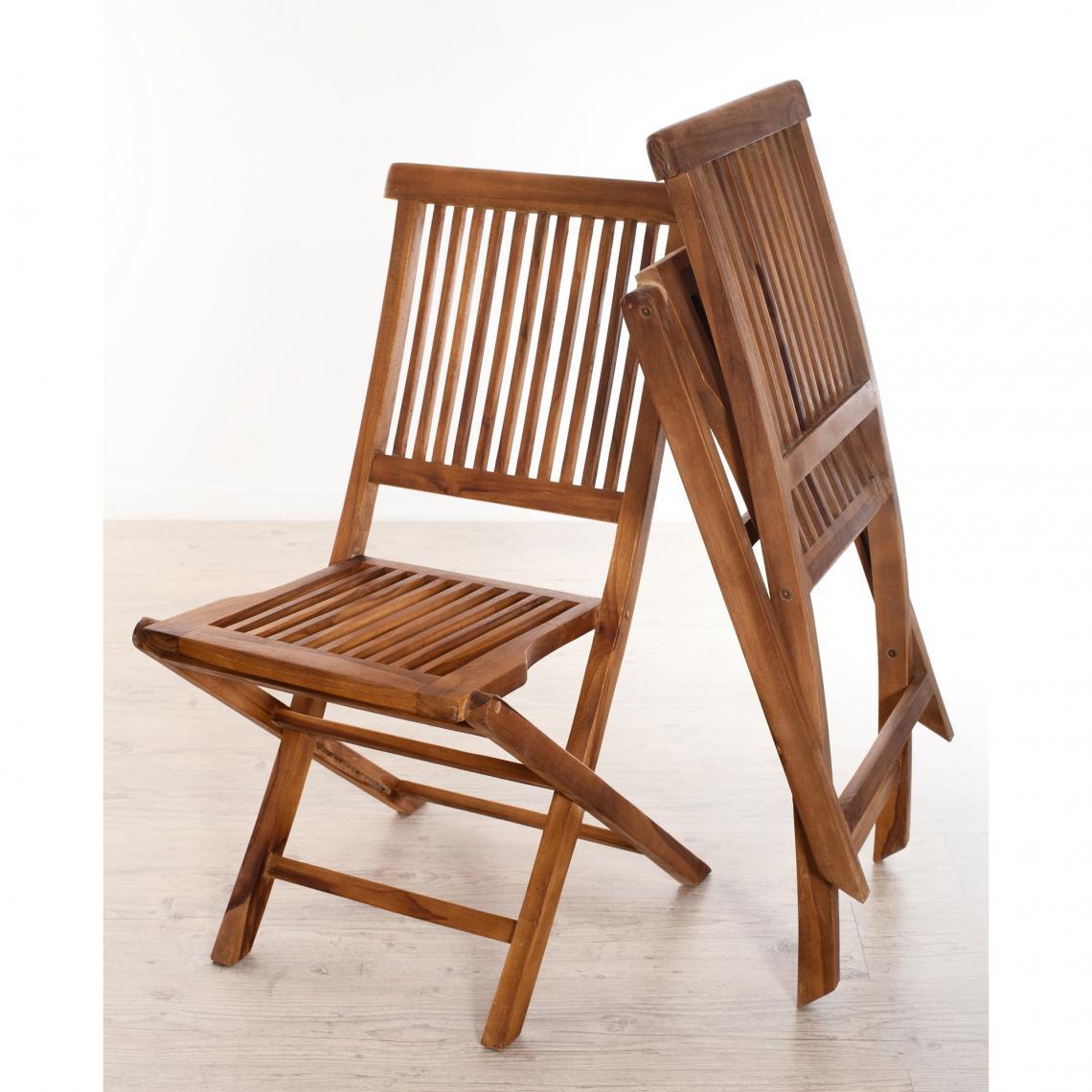 Lot de 2 chaises pliantes en teck huilé Java Unique