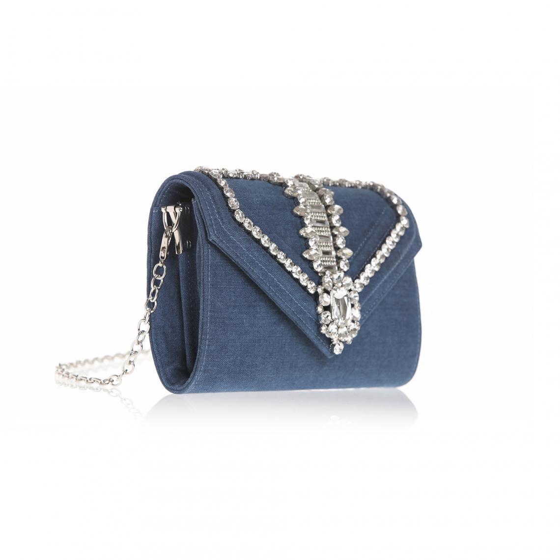f6eb56c419 Sac à main en jean à revers et pierres fantaisie bandoulière amovible femme  - Bleu 3