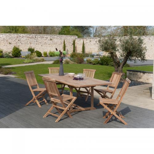 MACABANE - Ensemble table rectangulaire + 6 chaises pliantes en teck massif Java - Teck - Ensemble table, chaise