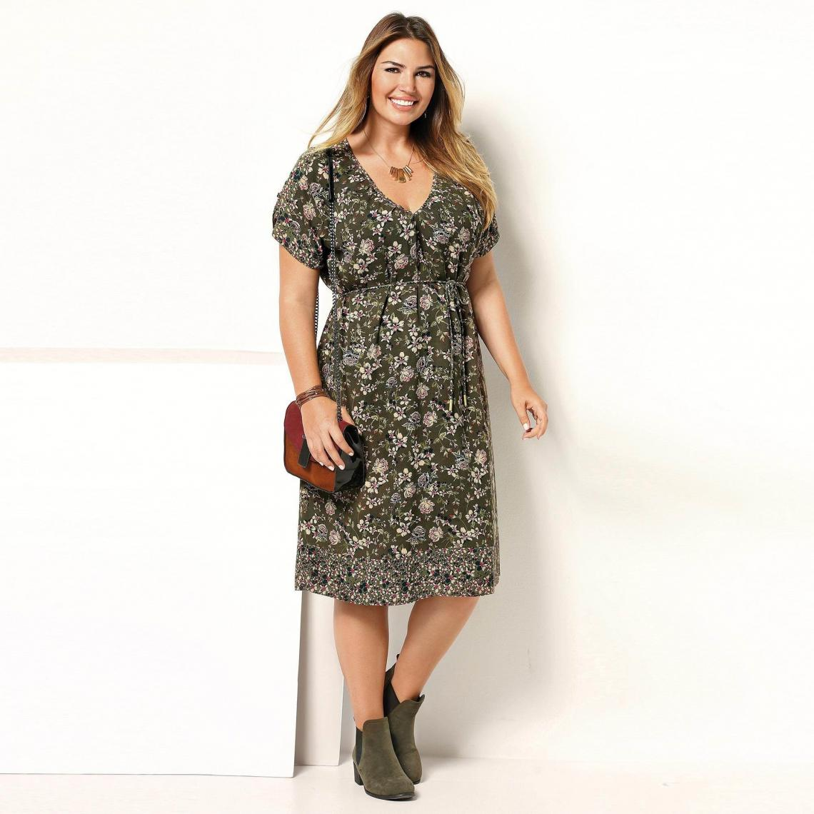 Robe imprimée manches courtes et ceinture femme Exclusivité 3SUISSES -  Imprimé Kaki 3 Suisses Femme 0c4eb0ded47