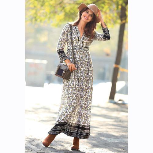 ab055b2671f51 3 SUISSES - Robe longue imprimée manches 3/4 femme - écru - Robe longue