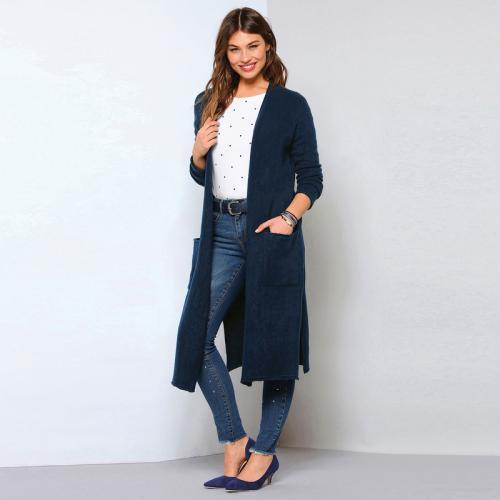 fe44c264a702 3 SUISSES - Gilet long fendu manches longues et poches femme - Bleu Marine  - Gilets