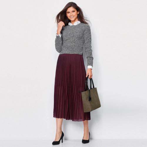 b543b31632f0b 3 Suisses - Jupe longue plissée taille élastique femme Exclusivité 3SUISSES  - Lie De Vin -
