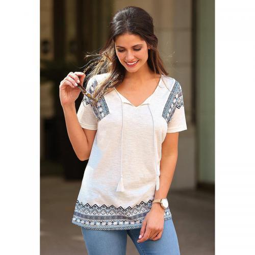 3 SUISSES - Tee-shirt évasé manches courtes imprimé femme Exclusivité  3SUISSES - écru - 957473c2abf
