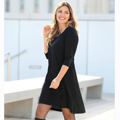 5ae795d01cbf8 3 SUISSES - Robe unie asymétrique fendue manches 3/4 femme - Noir - Mode