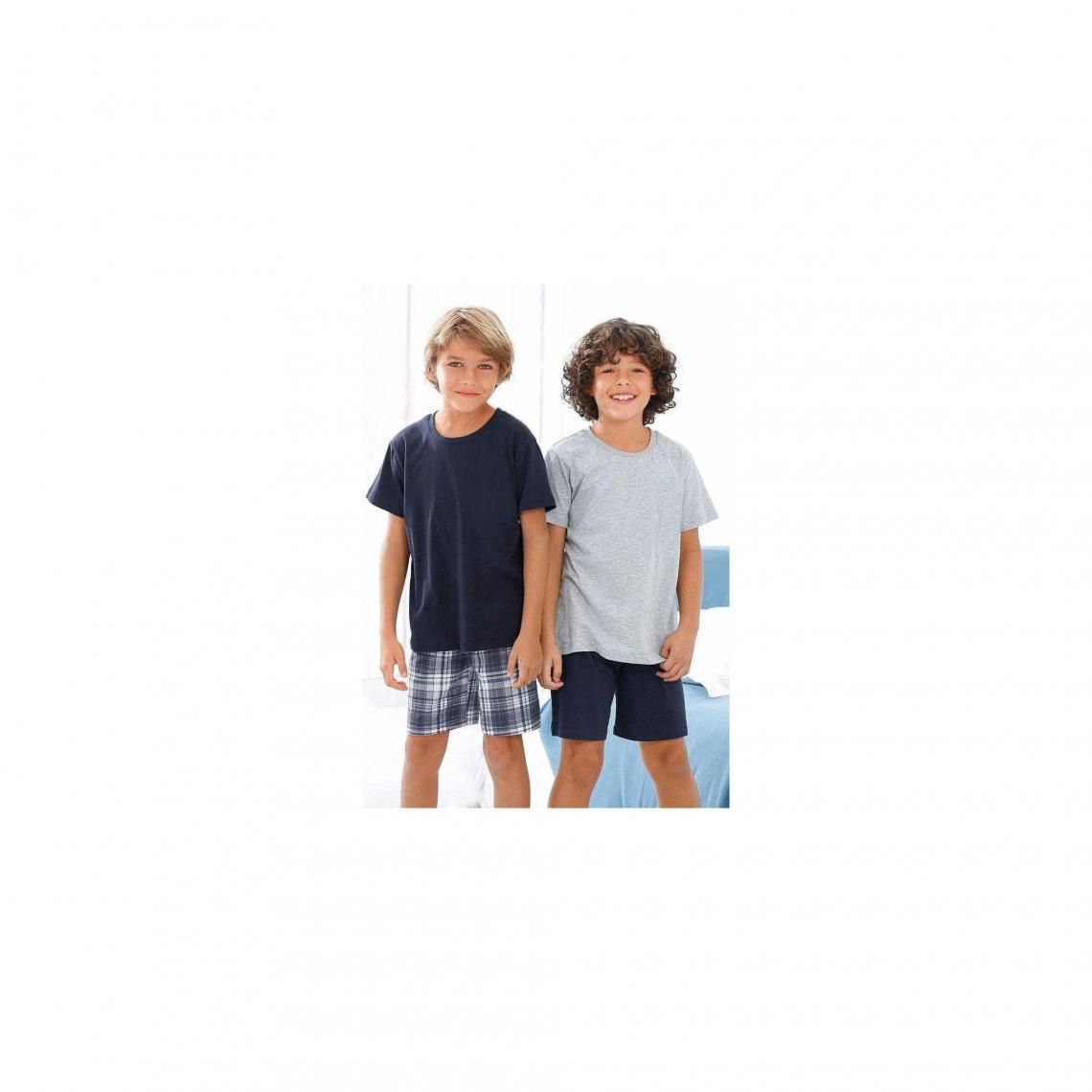 Lot de 2 pyjamas courts en coton gar�on Le Jogger - Gris - Marine - 3Suisses