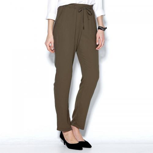 f58e75b99b9 Pantalon fluide taille élastique et cordon femme - Kaki