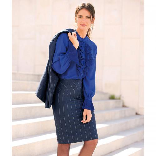 b6f3bcde32010 3 Suisses - Jupe rayée coupe crayon doublée fente dos femme exclusivité  3Suisses - Rayé Bleu