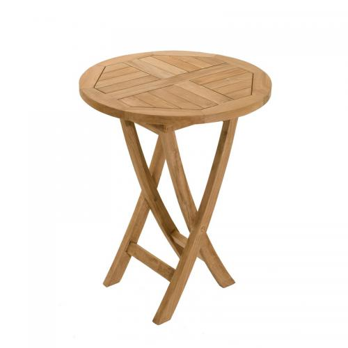 3 SUISSES - Table ronde pliante 60 cm en teck massif - Teck - Table de jardin