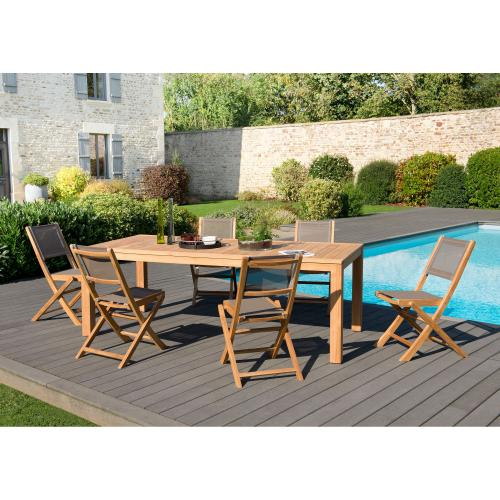 Ensemble table rectangulaire + 6 chaises pliantes en teck massif