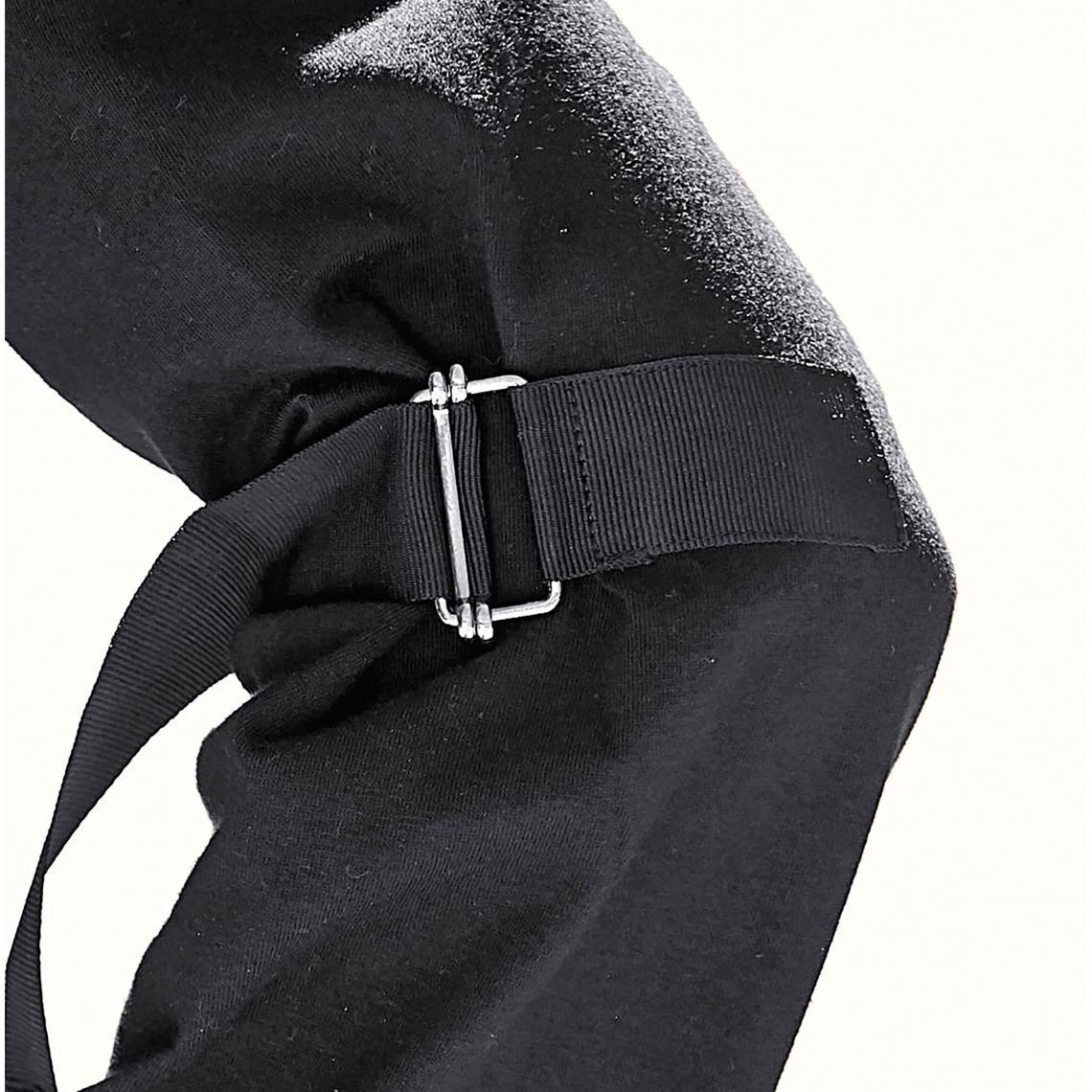 Tee-shirt fendu manches longues avec rubans femme - Noir mzTF0