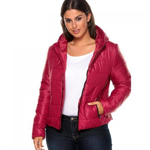 1b60a2331d3 3 SUISSES - Anorak matelassé zippé à capuche et poches manches longues femme  - Rouge Foncé