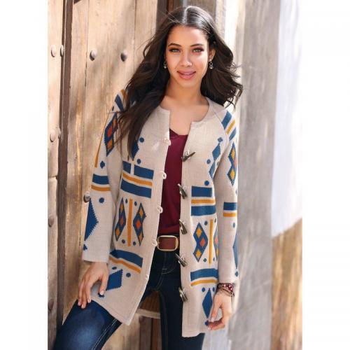 3 SUISSES - Gilet-manteau jacquard manches longues et boutons fantaisie femme  exclusivité 3 SUISSES e39690a5dd9