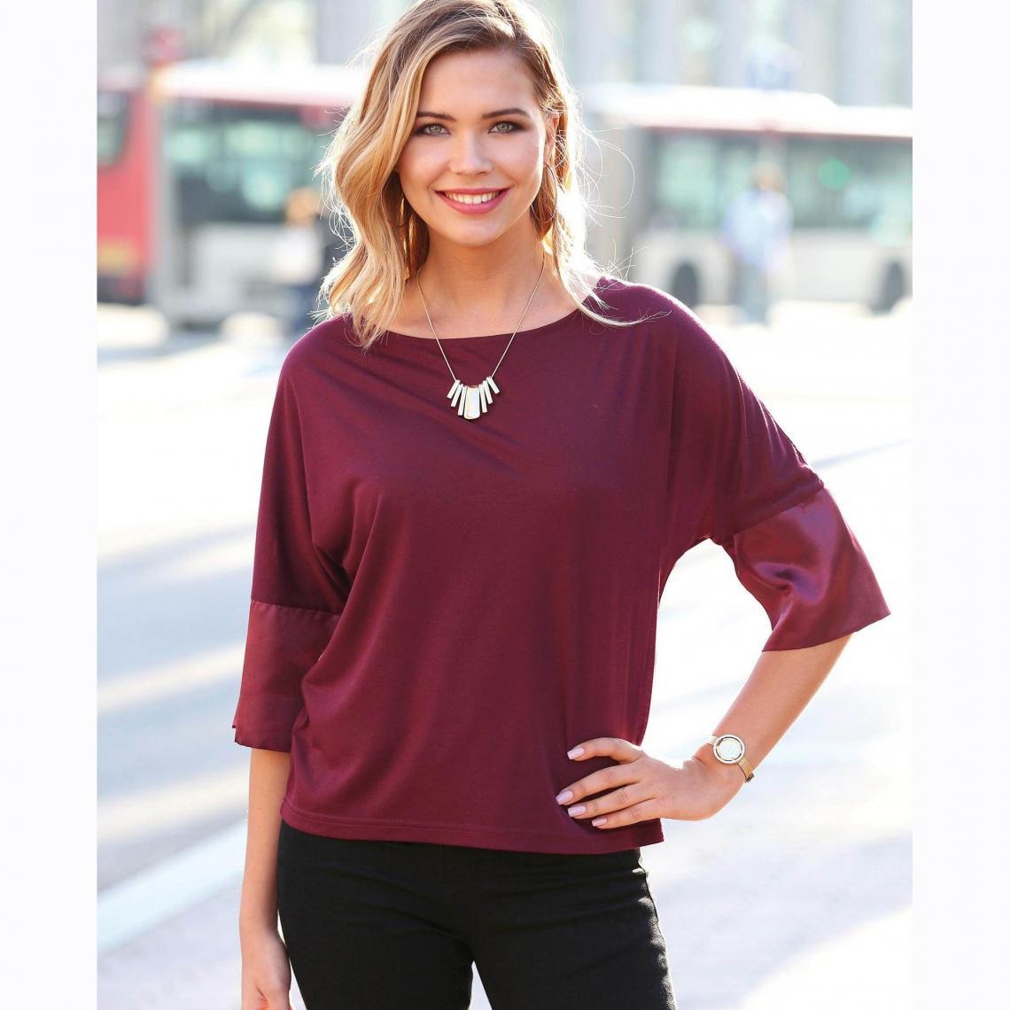 Grenat3 Manches Shirt Rouge 34 Poignets Tee En Satin Femme Suisses XwOkZiuTP