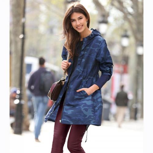 0d2afe2a3a5b8 3 Suisses - Parka à capuche cordons de serrage femme Exclusivité 3SUISSES -  Imprimé Bleu Marine