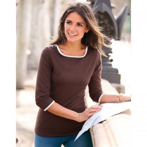 3 SUISSES - Tee-shirt col bateau manches longues biais contrastés et  pressions femme exclusivité 004708e20e0