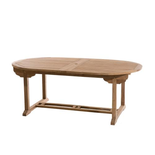 3 SUISSES - Table ovale double extension 10/12 personnes en teck massif - Le jardin