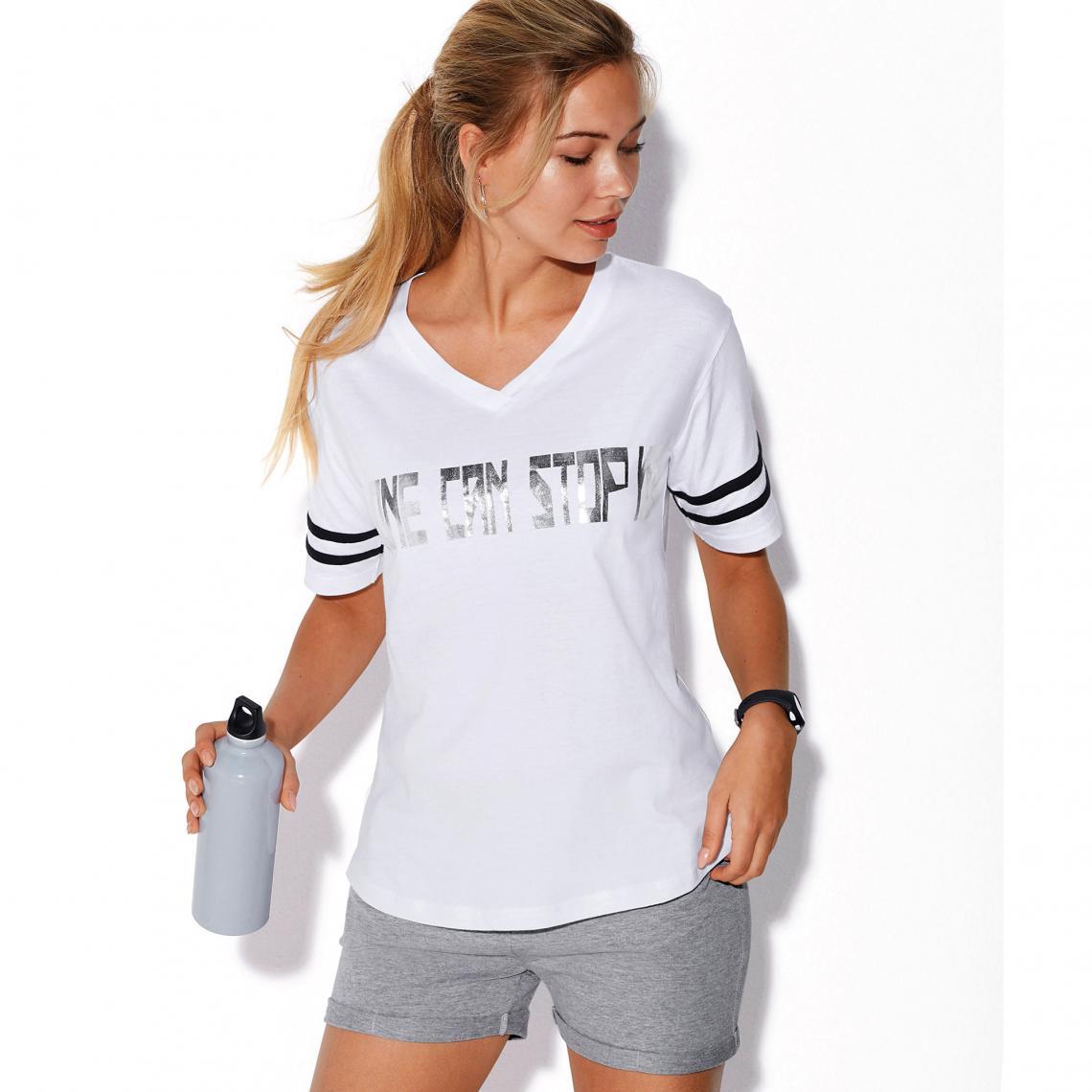 meilleure sélection 1de14 6468c Tee-shirt fitness manches courtes col V imprimé devant femme - Blanc