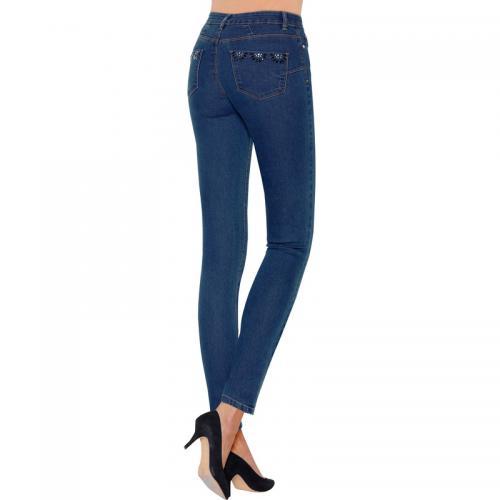 6c8534e1247f 3 Suisses - Jean skinny taille haute pierres fantaisie sur poche femme  exclusivité 3Suisses - bleu