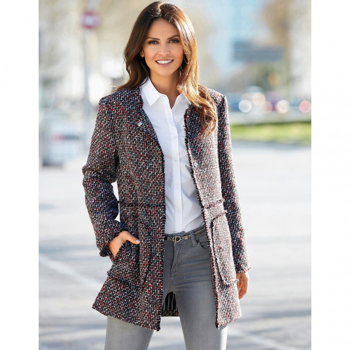 Manteau doublé fermé par pressions aspect effiloché femme Exclusivité  3SUISSES - Rouge Grenat 3 SUISSES Femme 49d8a8103b3