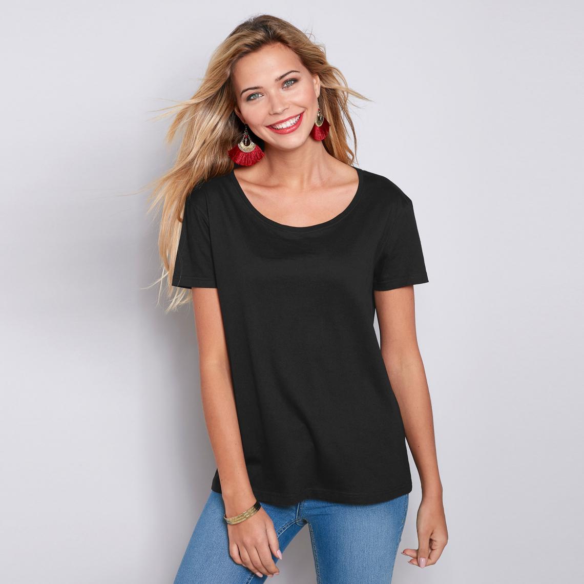 Promo : Tee-shirt asymétrique fendu manches courtes - Noir - 3 SUISSES - Modalova