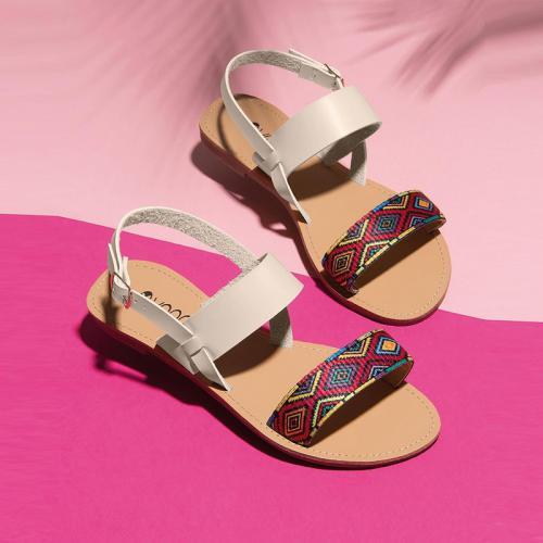 3 Suisses - Sandales bande multicolore sur le dessus femme Exclusivité  3Suisses - Beige - Sandales b686f5d6be47