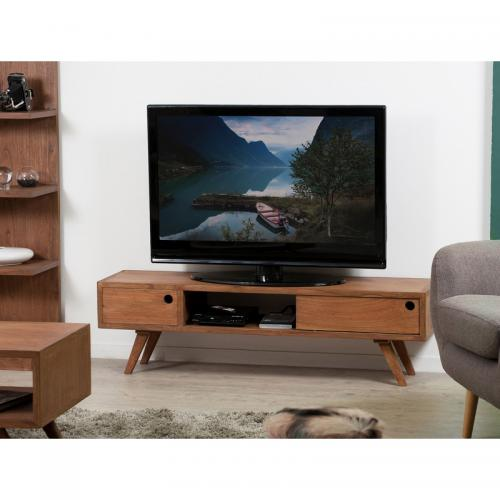3 SUISSES - Banc TV 1 porte coulissante style scandinave - Cannelle - Meuble TV