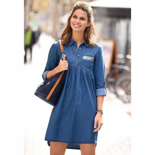 3 SUISSES - Robe courte en jean asymétrique manches longues et fronces femme  exclusivité 3 SUISSES 0646af249cb
